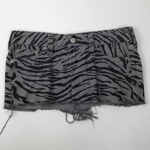 True Religion Mandy Zebra Print Mini Skirt Size 30